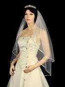 2T 2 Tier 0.6cm Ribbon Edge Rhinestone Crystal Bridal Wedding Veil - Ivory Fingertip Length 90cm