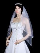 2T 2 Tier 0.6cm Ribbon Edge Rhinestone Crystal Bridal Wedding Veil - White Fingertip Length 90cm
