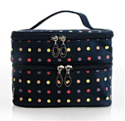 Double Layer Travelling Makeup Bag Small Dots Travel Toiletry Cosmetic Bag with Mirror
