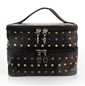 Double Layer Travelling Makeup Bag Small Dots Pattern Cosmetic Bag with Mirror