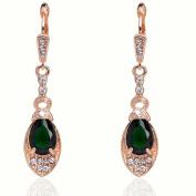 Julycoffee 18k Gold Plated Crystal Peridot Green Gem Dangle Earrings Cb1029