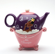 17cm Mi Tiempo Black Girl in Pink Bubble Bath Tub Tea For One