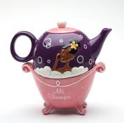 17cm Mi Tiempo Black Girl in Pink Bubble Bath Tub Tea For One