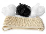 Luffa and Exfoliating Body and Back Scrubber Set from SuperiorMaker - Includes 3 Vibrant Coloured Hand Sized Loofah and 1 Modern Long Washcloths and Body Scrubber with Handles For Healthier Skin - Beauty Spa Like Luxury at Home! - Get Yours Now!