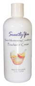 Peaches n' Cream Scented Super Moisturising Conditioner by Sweetly You - 470ml Uses Oilive, coconut, castor, and meadowfoam sead oils to add natural emolience. Panthenol, chamomile, lactic acid and guar gum give body and shine.