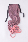 Lycoris Women Lace up Horsetail Long Hairpieces Gradient Colour Ponytail Wavy Curly Hair Extension