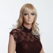Hair Weaves Medium Long Blond Wigs with Bangs European Hot Hair Wigs Synthtic High Quality Women Wig 3460b