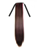 Stepupgirl 60cm Straight Synthetic Dark Brown Mixed Colour Ponytail with Souvenir Card