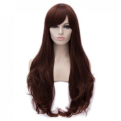 Toptheway Long With Side Bangs Large Wavy Curly Synthetic Costume Full Wig