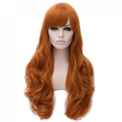 Toptheway Charming Deep Orange Long Body Wavy Cosplay Costume Lace Front Synthetic Wig