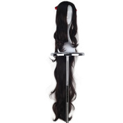 Miss U Hair Girl's Synthetic 110cm Extra Long Curly Dark Brown Colour Cosplay Party Wig with Long Curly Ponytail