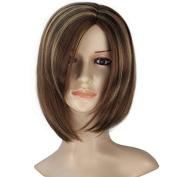 Miss U Hair Women Short Straight Kanekalon Fibre Brown Highlight Colour Fashion Party Wig
