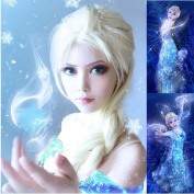 Ecvtop Cosplay Wig Halloween Wig Party Wigs Braid Hair Same As Queen Elsa with Gift Steel Comb / Wig Cap