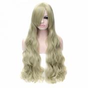 Fashion Women Grass Green Long Curly Wavy Hair Cosplay Costume Anime Hair Wig