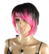 Toptheway Ombre Black Rose Pink Mixed Short Straight Cosplay Costume Wig