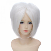 New Women Fashion Heat Resistant Short Straight White Cosplay Wigs Party Wig