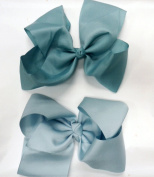 Jumbo Grosgrain Hairbows with Alligator Clip - The Blues
