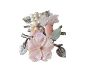 """Hanabe Women's """"Orchard"""" Natural Shell Cultured Pearl Nugget Stone Beaded Vintage Retro Handmade Brouch Pin"""