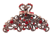 7.6cm Bronze Colour Metal Hair Claw with Red Rhinestones