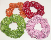 Bandana Print Fabric Hair Scrunchies Set of 4 Ponytail Holders Orange Pink Lime Green Red made by Scrunchies by Sherry