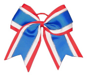 "NEW ""Blue & Red Glitz"" Cheer Bow Pony Tail 7.6cm Ribbon Girls Hair Bows Cheerleading Dance Practise Football Games Uniform Competition USA"