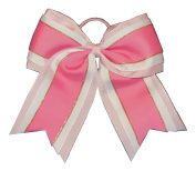 "NEW ""Pink & White Glitz"" Cheer Bow Pony Tail 7.6cm Ribbon Girls Hair Bows Cheerleading Dance Practise Football Games Uniform Competition"