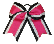 "NEW ""Pink & Black Glitz"" Cheer Bow Pony Tail 7.6cm Ribbon Girls Hair Bows Cheerleading Dance Practise Football Games Uniform Competition"