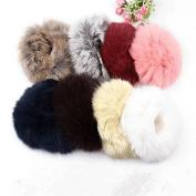 5x Fuzzy Furry Artificial Rabbit Fur Faux Fur Hair Band Rope Hair Holder Wristband Hair Ring Hair Tie Ponytail Holder Hair Accessories