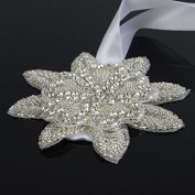 Seasofbeauty Dazzling Rhinestone Wedding Dress Sash Bridal Hair Band