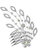 Bridal Floral Crystal Hair Piece Hair Comb Silver Tone 1097