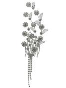 Bridal Floral Hair Piece Hair Comb Silver Tone 2702