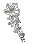 Bridal Floral Crystal Casting Hair Piece Silver Tone 2839