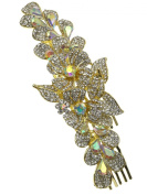 Bridal Floral Crystal Casting Hair Piece Gold Tone 2285