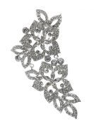 Bridal Floral Crystal Casting Hair Piece Silver Tone 2790