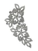 Bridal Floral Crystal Casting Hair Piece Silver Tone 2790