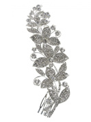 Bridal Floral Crystal Casting Hair Piece Silver Tone 2485