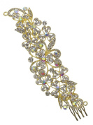 Bridal Floral Crystal Casting Hair Piece Gold Tone 2487