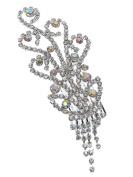 Bridal Floral Crystal Hair Piece Hair Comb Silver Tone 2350