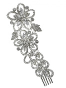 Bridal Floral Crystal Casting Hair Piece Silver Tone 2840