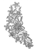 Bridal Floral Crystal Casting Hair Piece Hair Comb Silver Tone 2223