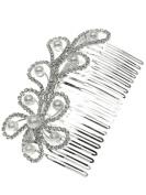 Bridal Floral Hair Piece Hair Comb Silver Tone 2475