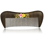 Hand Painted Natural Chacate Preto Wood Massage Comb, No Static Wooden Hair Comb 5.5""