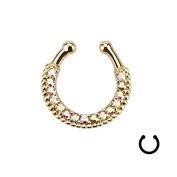 Oasis Plus Colourful Crystal Clip On Septum Fake Nose Rings Hoop Gold Non Piercing Nose Ring stud Novelty Body Jewellery