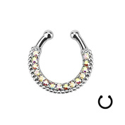 Oasis Plus Colourful Crystal Clip On Septum Fake Nose Rings Hoop Non Piercing Nose Ring stud Novelty Body Jewellery