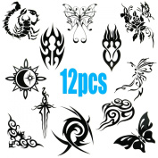 QY 12 PCS Black Waterproof Temporary Tattoos, Butterfly, Totem, Scorpion, Sun, Fire, Sword, Flower and Cloud