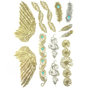 Allydrew Large Metallic Gold Silver and Black Body Art Temporary Tattoos, Feathers, Wings, Daisies_1
