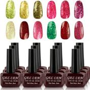 Gellen 12pcs 8ml Shiny Soak Off Gel Nail Polish UV Gel Brown Bottle Packaged Mixed Colours#028