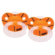 NUK 2 Count Sports Orthodontic Pacifier, Size 2, Basketball