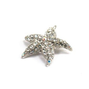 DoubleAccent Hair Jewellery Small Crystal Starfish Barrette White Colour