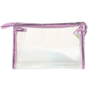 Ladies Diaphanous Plastics Zipper Closure Cosmetic Case Makeup Storage Bag